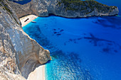 Navagio Beach and shipwreck at Smugglers Cove on the coast of Zakynthos, Ionian Islands, Greek Islands, Greece, Europe