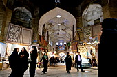 Inside the galleries of the Great Bazaar of Isfahan, Iran, Middle East