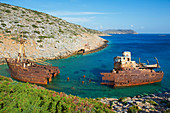 Wreck of the boat from The Big Blue movie, Amorgos, Cyclades, Aegean, Greek Islands, Greece, Europe