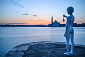 Charles Ray's Boy with Frog statue on the tip of Zattere at sunrise, Venice, UNESCO World Heritage Site, Veneto, Italy, Europe
