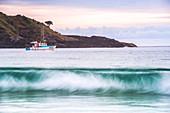 Fishing boat in Maitai Bay (Matai Bay) Beach on the Karikari Peninsula, Northland, New Zealand, Pacific