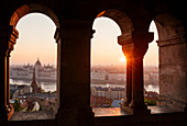 View from Fisherman's Bastion over Danube River and Hungarian Parliament Building at dawn, Budapest, Hungary, Europe
