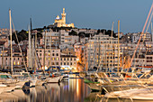 Basilique Notre-Dame de la Garde and the Old Port of Marseille, Marseille, Bouches-du-Rhone, Provence, France, Mediterranean, Europe