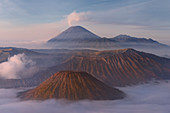 Sunrise over the smoking Gunung Bromo volcano, Bromo-Tengger-Semeru National Park, Java, Indonesia, Southeast Asia, Asia