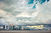 Typhoon clouds over new skyline of Hangzhou city, Hangzhou, Zhejiang, China, Asia