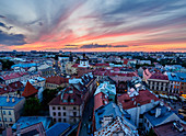 Elevated view of the Old Town at sunset, City of Lublin, Lublin Voivodeship, Poland, Europe