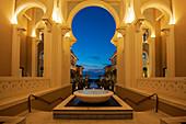 Arabian architecture at night, Saadiyat island, Abu Dhabi, United Arab Emirates, Middle East.