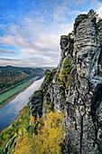 Rock towers tower over Elbe Valley, Bastei, Elbe Sandstone Mountains, Saxon Switzerland National Park, Saxon Switzerland, Saxony, Germany