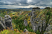 Rock towers in the Elbe Sandstone Mountains, Bastei, Elbe Sandstone Mountains, Saxon Switzerland National Park, Saxon Switzerland, Saxony, Germany