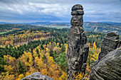 Barbarine rock tower, Pfaffenstein, Elbe Sandstone Mountains, Saxon Switzerland National Park, Saxon Switzerland, Saxony, Germany