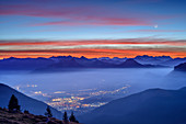 Morgenrot with moon over Inntal and Chiemgau Alps, Farrenpoint, Bavarian Alps, Upper Bavaria, Bavaria, Germany