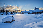 Snow-covered Lago Federa and Becco di Mezzodi, Dolomites, Dolomites World Heritage Site, South Tyrol, Italy