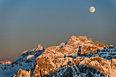 Moon over Sorapis group, Dolomites, Dolomites World Heritage Site, Veneto, Veneto, Italy