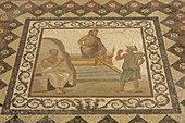 Mosaic with picture of the arrival of Hypocrates, Archaeological Museum, Kos Town, Kos Island, Dodecanese