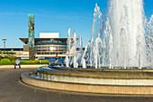 Fountain in Amalie Garden (Amaliehaven). Hansebrolabet and Copenhagen Opera House, Copenhagen,  Zealand, Denmark