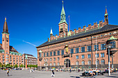 City Hall Square, Radhuspladsen. Copenhagen City Hall (Kobenhavns Radhus), builded in 1905, Copenhagen, Zealand, Denmark