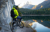 Mountain biking on the Blindsee Trail in Lermoos, Austria