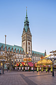 Christmas market in front of the Hamburg City Hall, Hanseatic City of Hamburg, Northern Germany, Germany, Europe