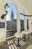 Alster Arcades with a view of Hamburg City Hall, Hanseatic City of Hamburg, Northern Germany, Germany, Europe