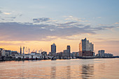 Morgenrot over HafenCity with Elbphilharmonie, Free Hanseatic City of Hamburg, Northern Germany, Germany, Europe