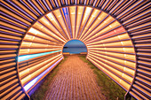 Light installation light tunnel by Gerry Ammann on the waterfront at Lake Constance, Bregenz, Vorarlberg, Western Austria, Austria, Europe