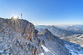 Summit of the Zugspitze in the Wetterstein Mountains, Garmisch-Partenkirchen, Werdenfelser Land, Upper Bavaria, Bavaria, Southern Germany, Germany, Europe