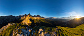 From Söllnspitz, view of the evening light of the Rosengarten group, UNESCO World Natural Heritage, in the South Triol Dolomites, Tiersertal, Italy