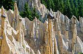 The earth pyramids, natural monument at Oberwielenbach, Percha, Puster Valley, South Tyrol, Italy