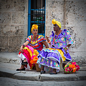 Cuban women in traditional dress, Havana, Cuba