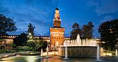 Piazza Castello fountain, Torre del Filarete, Milan, Lombardy, Italy