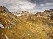 Barren mountains in autumn on the Julier Pass, Graubünden, Switzerland, Europe