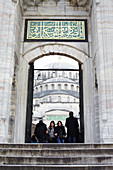 Stairs and an entrance gate of the Blue Mosque in Istanbul, Turkey