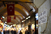 Handwritten information sign on the Grand Bazaar, Capali Carsi, in Istanbul, Turkey