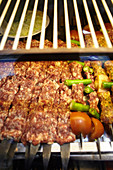 Prepared minced meat kebabs on the Grand Bazaar, Capali Carsi, in Istanbul, Turkey