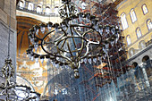Chandelier and scaffolding in Hagia Sophia in Istanbul, Turkey