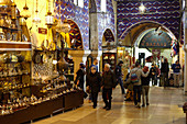 Sales street with shops in the Grand Bazaar, Capali Carsi, in Istanbul, Turkey