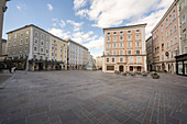 View of the empty Old Market and Cafe Tomaselli and Cafe Fuerst in Salzburg, Austria.