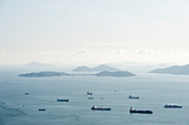 View from the peak of ships and islands, Hong Kong, China