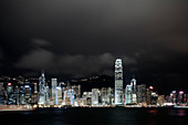 View across Victoria Harbor to Central night skyline, Hong Kong, China