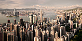 View from the peak of Hong Kong skyline and Victoria Harbor, China