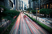 Light trails from cars in Central, Hong Kong, China