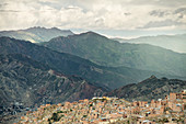 View from El Alto to the extensive urban area of La Paz, Andes, Bolivia, South America