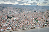 View from El Alto to the large urban area of La Paz, Bolivia