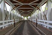 Old wooden bridge in Powerscourt, Quebec, Canada