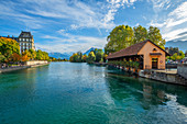 Scherzlig lock with Aare and art museum, Lake Thun, Thun, Canton of Bern, Switzerland