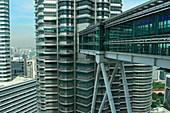 The Petronas Towers in Kuala Lumpur, Malaysia, taken from the bridge