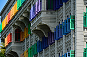 Colorful shutters on a historic home near Boat Quay, Singapore