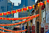 Colorful decoration with fairy lights and lanterns for the Chinese New Year, Chinatown, Singapore