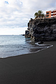 View of the beach and cliffs in Puerto Naos, La Palma, Canary Islands, Spain, Europe