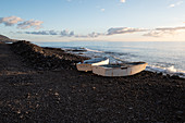 View of the Atlantic Ocean from El Remo beach, in the foreground two fishing boats, La Palma, Canary Islands, Spain, Europe